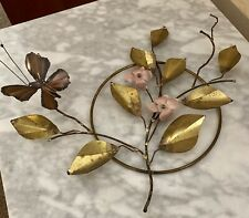 Butterfly And Floral Bronze And Gold Tones Metal Wall Art Signed By Artist