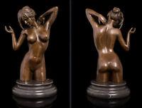 Art Deco Sculpture Nude Woman Girl Erotic Female Body Bronze Statue