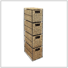 Bathroom Storage Unit 4 Tier Seagrass Drawer Bedroom Office Tower Draws Guest UK