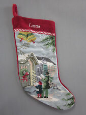 Lands End Needlepoint Christmas Stocking LUCAS Carolers Monogrammed New
