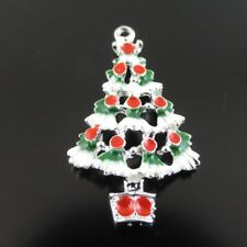 Pack 10 Enamel Plated Christmas Tree Charm Pendant DIY Crafts Accessories #38896