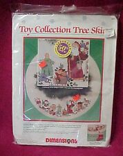 Vtg Dimensions Counted Cross Stitch Christmas Tree Skirt Kit Toy Collection 1989