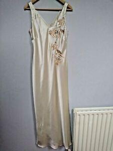 Women's Ivory satin evening / prom  long dress, size 14