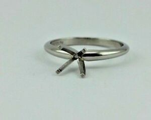 Platinum engagement ring semi mount 1 - 1.25 ct round solitaire ring four prongs