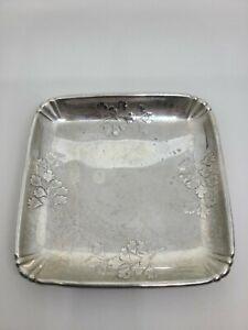 Art nouveau antique Larkspur Wallace sterling silver business card holder tray