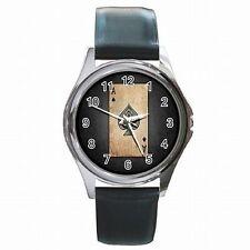 Ace of Spades Poker Black Jack Las Vegas Gambler Accessory Leather Watch New!