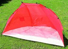 Strandmuschel Strandzelt Sonnenschutzzelt Windschutz Zelt Rot 218x115x115cm Neu