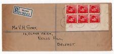 More details for irish 1st day cover registered belfast  14th sept 1936 control corner block of 6