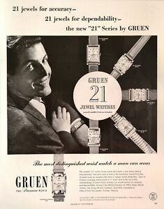 40's Vintage Print Ad GRUEN 21 Precision Gold Filled Manual Wind Mens' Watch