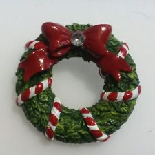 Bow Rhinestone Molded Resin G42 Christmas Wreath Pin With Candy Canes