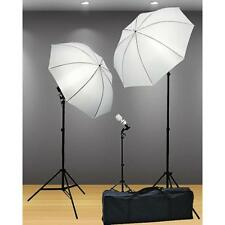 Photography Studio Lighting Kit Professional Light Stands Umbrella 3 point New