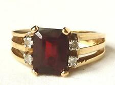 Vintage 14k Gold 2.00Ct Deep Red Garnet+Diamond Ring~Unique Mount~Jan Birthstone