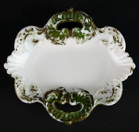 """McKee Bros Valentine Milk Glass Pin Tray, Antique EAPG 1899 Signed White Dish 5"""""""