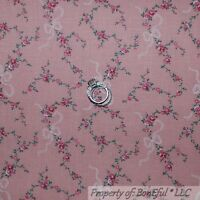 BonEful Fabric FQ Cotton Quilt VTG Antique Rose Flower Pink Garden Cottage Girl