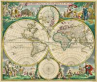 New de Wit Antique Old World Map Nova Orbis Color Picture Plan Colour Decorative