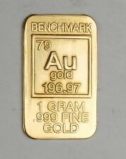 GOLD 1GRAM 24K PURE GOLD BULLION BENCHMARK ELEMENTAL BAR 999 FINE GOLD bin11