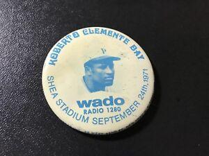 Roberto Clemente Day RARE Pinback WADO Shea Stadium 1971 New York Mets