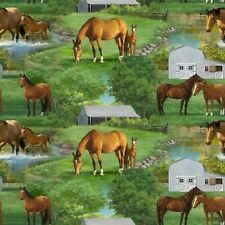 New listing Summer Horse Farm Scenic Green 100% Cotton Fabric by The Yard