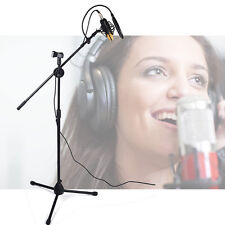 Microphone Stand Dual Mic Clip 360-degree Rotating Folding Type Boom Arm Tripod