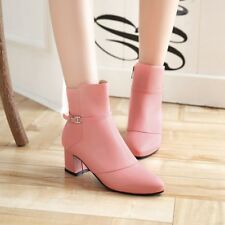 Stylish Womens Chelsea Pointy Toe Ankle Boots Buckle Decor Block Heel Work Shoes