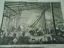 Gravure 1861 - Industries Francaises Fabrication des Coffres Forts Atelier