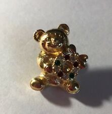 "1"" Gold Tone Teddy Bear Rhinestone Wreath Christmas Tac Pin Jewelry Ff-57"