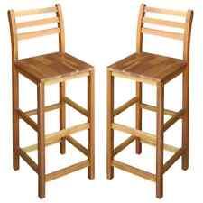 vidaXL Solid Wood 2x Bar Chair Indoor Outdoor High Stool Bistro Pub Restaurant