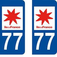 Département 77 sticker 2 autocollants style immatriculation AUTO PLAQUE
