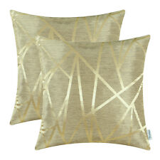 "2Pcs Gold Cushion Covers Pillow Shell Sofa Decor Geometric Abstract Lines 20x20"""
