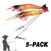 5 Pcs Soft Lifelike Shrimp Prawn Fishing Lures Luminous Shrimp Bead Hook Bait