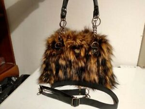 BAG FROM-REAL-FUR-FOX-WITH-REAL-LEATHER-STRAP-AND-CHAIN FAST SHIPPING