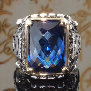 925 Silver Rings Women Jewelry Marquise Blue Sapphire Wedding Ring Size 9