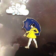 BROOCH 2 cute enamel pins Umbrella Girl, Rain Cloud, Fun Xmas jewellery