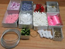 Assorted Craft Supplies Lot Pom-Poms Ribbon Sequins Glitter Macrame Rings Floral