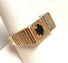 Men's Diamond & Sapphire Ring 14k Yellow Gold - Features