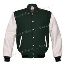 Genuine Leather Sleeve Letterman College Varsity Women Wool Jackets #WSL-BSTR-WB