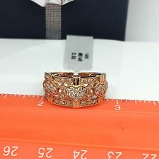 14k Solid Rose Gold Heart Wide Diamond Ring