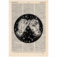 Pinky Promise Galaxy Dictionary Word Art Print OOAK, Quirky, Alternative