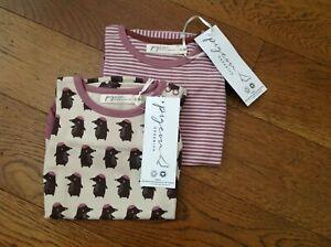 Pigeon Organics - LS Baby Body x 2 - Mole print /Rose stripes - 6-12 months