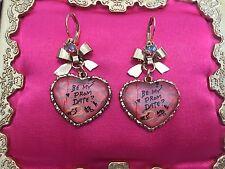 Betsey Johnson Vintage Varsity Crush BE MY PROM DATE? Paper Pink Heart Earrings