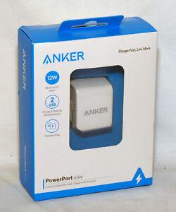 genuine Anker PowerPort Mini - 2 USB Ports Wall Charger 12W *NEW*