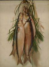 Antique Embossed print still life FISH FISHING Wood Frame Oak frame