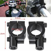 "7-8"" Motorcycle Handlebar Mirror Adaptor Clamp On Mount Brackets 10mm Aluminium"