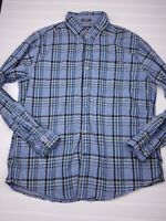 Eddie Bauer Men's Button Down Cotton plaid Classic Fit Shirt Blue Size Large M19