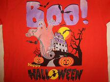 Halloween Holiday Boo! Happy Halloween Ghost Pumpkin Orange Graphic T Shirt - L