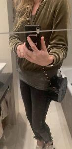 Cult Gaia black acrylic bag, cross body bead shoulder strap