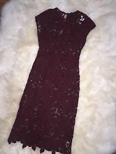 J.CREW COLLECTION SCALLOPED LACE DRESS SZ 00 DARK WINE  $398 SOLD OUT! RARE!