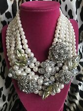 Betsey Johnson HUGE Layered Pearl Pretty Punk Antique Crystal Floral Necklace