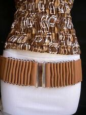 Fun Women Belt Hip High Wiast Elastic Beige Cream Color Fabric Silver Buckel S M