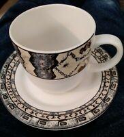 Vitromaster by Sakura Sue Zipkin stoneware 4 sets cups saucers 8 pc Mali Tribal